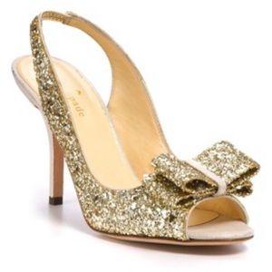 Kate Spade Gold Glitter Slingback Pumps